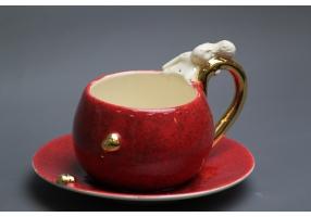"""Raudonas prabangus kavos puodelis """"Gražinos artumas"""""""